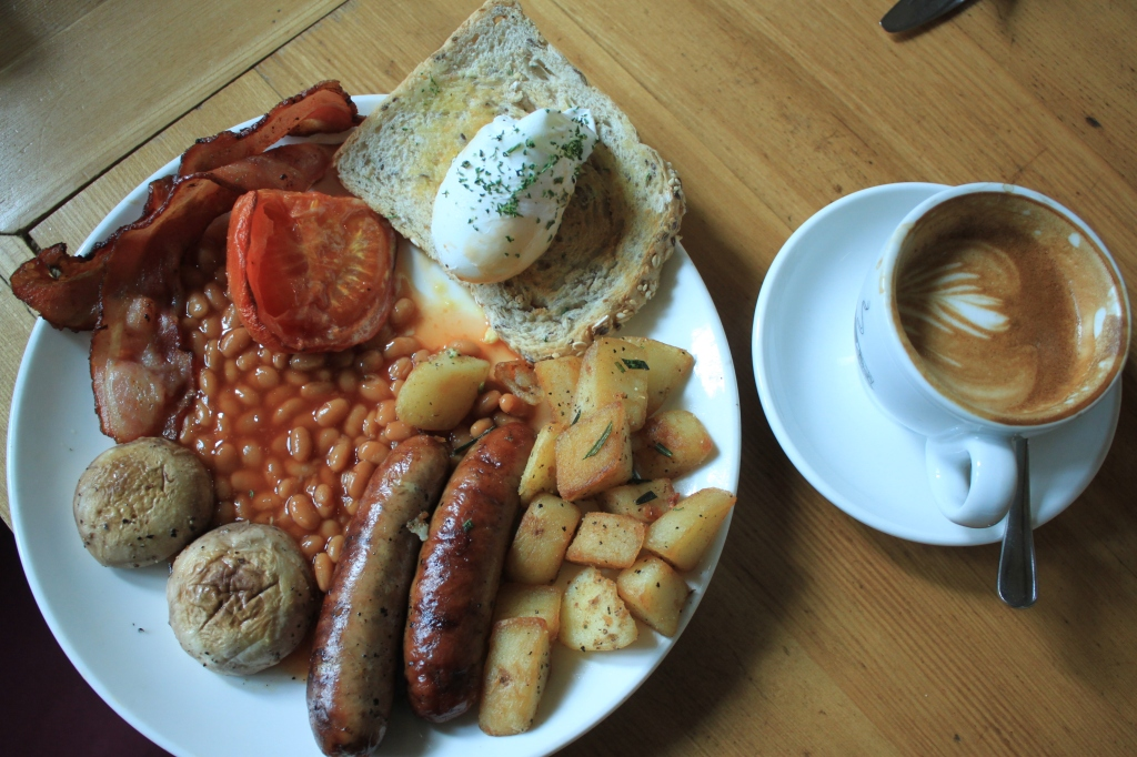 The famously fattening full English Breakfast at Vineyard Cafe, with a Rickshaw Roasters flat white