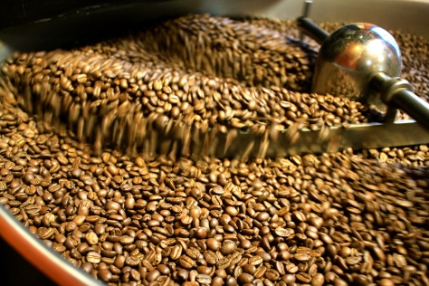 Freshly roasted beans getting a cool off at the roastery