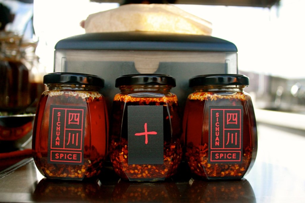 Can you take the heat? Sichuan:Spice's notorious X Claw chilli oil in the middle.