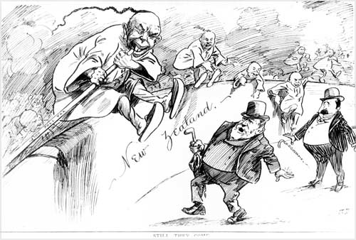 Anti-Chinese cartoon by J. Blomfield, 1905. Image from Te Ara/Alexander Turnbull Library.