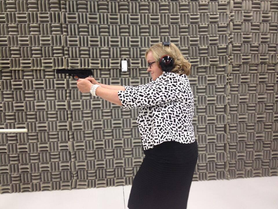 Judith Collins at the firing range. From her Facebook page.