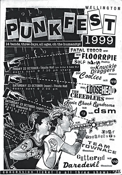 Poster for PUNK FEST 1999 designed by Kerry Ann Lee. Image from the Up the Punks archive!