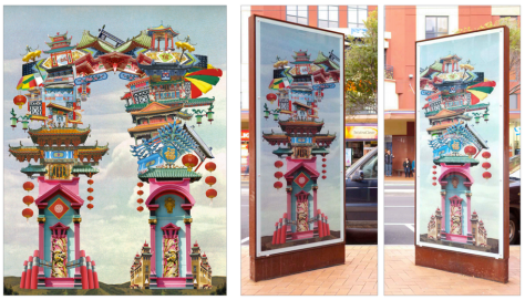 Double Dragon (2012), Commissioned by Enjoy Gallery for the Wellington City Council's Light Box Project.