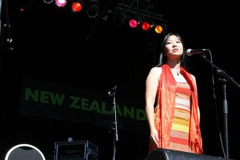Performing poetry at WOMAD. Image from The Big Idea.