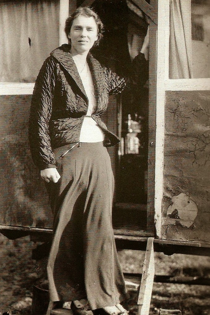"Photo of Hyde taken during a visit by Dr. Buchanan to Hyde's rented caravan at Pope's Hall in Kent, which she apparently called ""Little China"". November 11, 1938. Image and caption from Oztypewriter Blog."