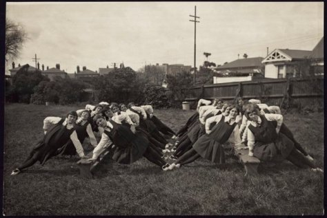 Wellington Girls College students performing Swedish drill, Parents Day, 1927. Photograph taken by P H Jauncey, Wellington, in 1927. Image from Natlib.
