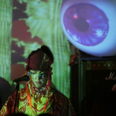 Mos Iocos of Orchestra of Spheres with Lady Lazer Light. School Bar, Beijing, Sept 2015. Image / Live Beijing Music